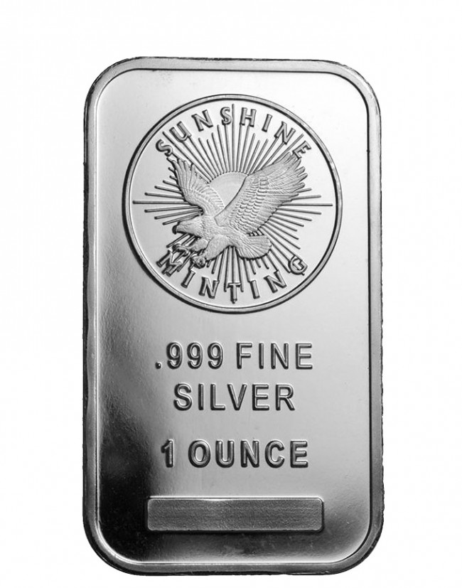 1 Oz Silver Sunshine Mint Bar