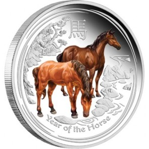 1 oz Silver Perth Mint Horse Proof Colored Edition Coin 2014