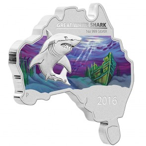 1 oz Silver Map Shaped Great White Shark Coin 2016