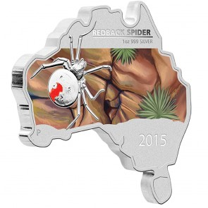 1 oz Silver Map Shaped Redback Spider Coin 2015