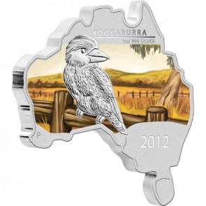 1 oz Silver Map Shaped Kookaburra Coin 2012 (Slight Toning)