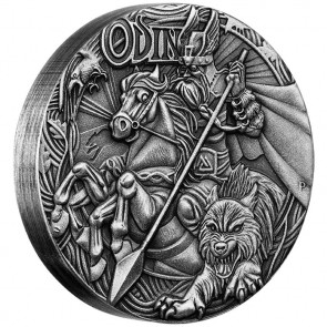2 oz Silver Norse God - Odin High Relief Antiqued Coin 2016