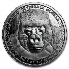 1 oz Silver Congo Silverback Gorilla Coin 2016