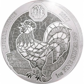 1 oz Silver Rwanda Lunar Year of the Rooster Coin 2017