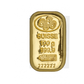100 gram Gold PAMP Suisse Bar (Cast)