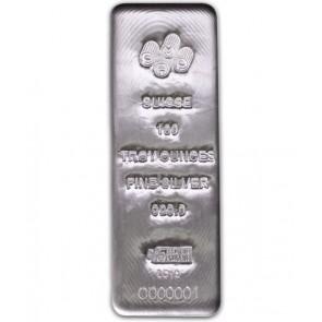 100 oz Silver Pamp Suisse Cast bar
