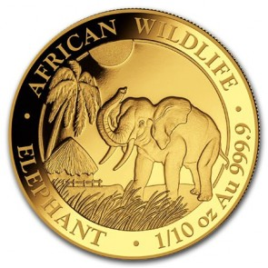 1/10 oz Gold Somalian Elephant Coin 2017