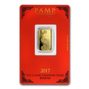5 gram Gold PAMP Suisse Rooster Bar
