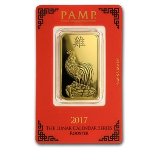 1 oz Gold PAMP Suisse Rooster Bar