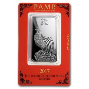 1 oz Silver PAMP Suisse Rooster Bar