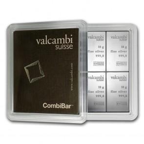 10 x 10 gram Silver Valcambi Combi Bar