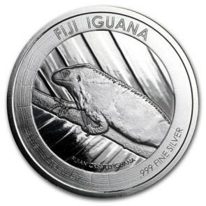 1 oz Silver Fiji Crested Iguana Coin 2016