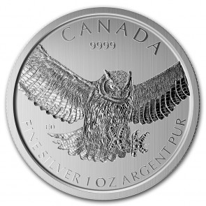1 oz Silver RCM Birds of Prey Great Horned Owl Coin 2015