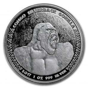 1 oz Silver Congo Silverback Gorilla Coin 2017