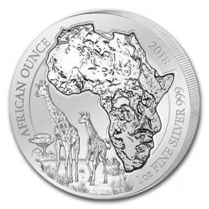 1 oz Silver Rwanda African Giraffe Coin 2018