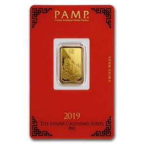 5 gram Gold PAMP Suisse Pig Bar