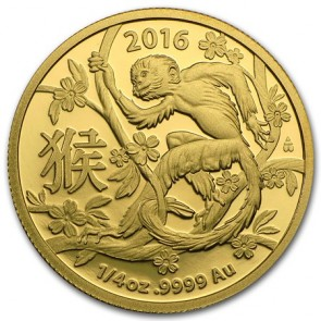1/4 oz Gold Royal Australian Mint Monkey Coin 2016