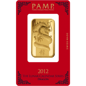 1 oz Gold PAMP Suisse Dragon Bar