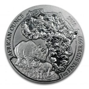 1 oz Silver Rwanda African Rhino Coin 2012