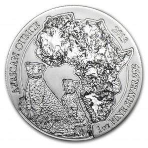 1 oz Silver Rwanda African Cheetah Coin 2013