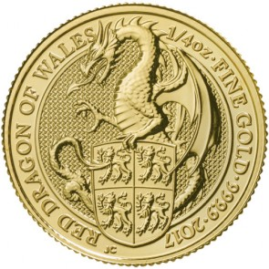 1/4 oz Gold Queen's Beast - The Dragon Coin 2017
