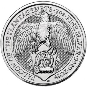 2 oz Silver Queen's Beasts - The Falcon of the Plantagenets Coin 2019