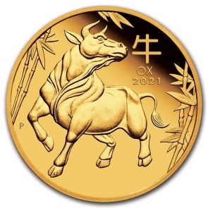 1 oz Gold Perth Mint Lunar Ox (Series III) Coin 2021