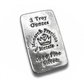 3 oz Silver Monarch Precious Metals Bar