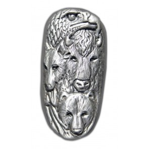 5 oz Silver Bar Bison Bullion - Animal Totem Bar
