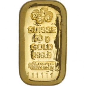 50 gram Gold PAMP Suisse Bar (Cast)