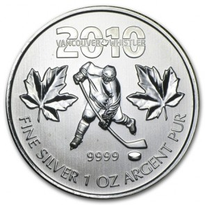 1 oz Silver Olympic Maple Leaf Hockey Coin 2010