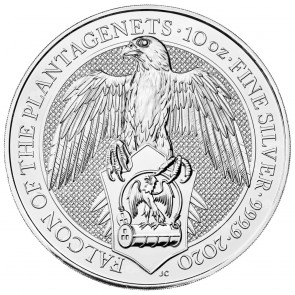 10 oz Silver The Queen's Beast - Falcon of the Plantagenets Coins 2020