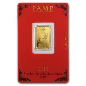 5 gram Gold PAMP Suisse Goat Bar