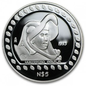 1 oz Silver Mexico Guerrero Aguila Proof Coin 1993