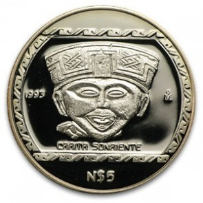 1 oz Silver Mexico Carita Sonriente Proof Coin 1993