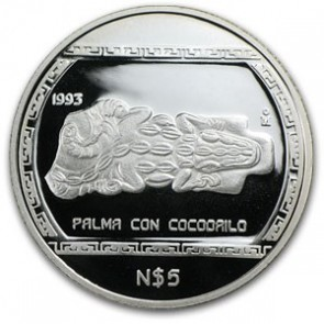 1 oz Silver Mexico Palma Con Cocodrilo Proof Coin 1993