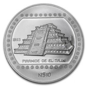 5 oz Silver Piramide de Tajin Coin 1993