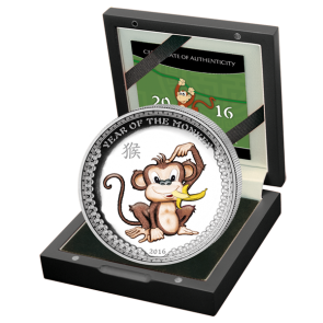 1 oz Silver Palau Year of the Monkey Colored High Relief Coin 2016