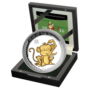 1 oz Silver Palau Year of the Monkey Gold Plated High Relief Coin 2016