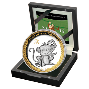 1 oz Silver Palau Year of the Monkey Gilded High Relief Coin 2016