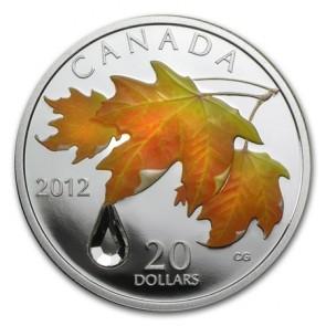 1 oz Silver RCM Sugar Maple Crystal Raindrop Coin 2012