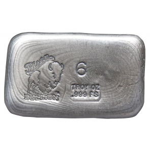 6 oz Silver Bison Bullion Hand poured Bar