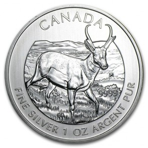 1 oz Silver Wildlife Series Pronghorn Antelope Coin 2013