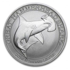 1/2 oz Silver Great Hammerhead Shark 2016