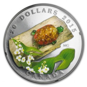 1 oz Silver Venetian Glass Turtle with Broadleaf Arrowhead Flower Coin 2015