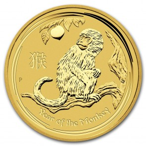 1/4 oz Gold Perth Mint Year of the Monkey Coin 2016