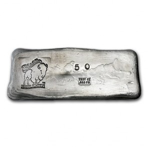 50 oz Silver Bison Bullion Hand poured Bar