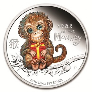 1/2 oz Silver Perth Mint Baby Monkey Proof Coin 2016