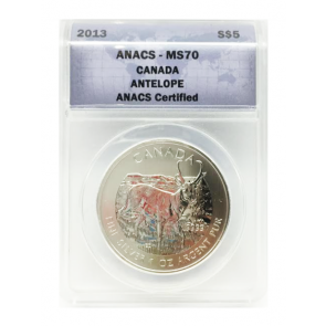1 oz Silver Wildlife Series Antelope ANACS MS70 Coin 2013
