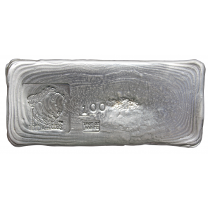 100 oz Silver Bison Bullion Hand poured Bar
